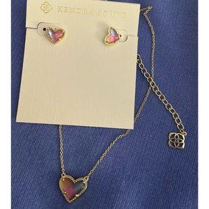 Kendra Scott rainbow heart necklace & earring set